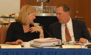 Sheryl Vacca (left), University of California Senior Vice President and Chief Compliance and Audit Officer, talks to Regent Gould at the recent Regents meeting. Photo by Arianna Puopolo.