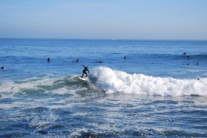 Surfers OF ALL AGES and abilities enjoy the waves at Steamer Lane in Santa Cruz, where the Cold Water Classic will take place starting November 2. Photo by Devika Agarwal.