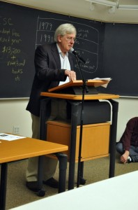 """Bob Meister, the author of """"They Pledged Your Tuition,"""" spoke at the """"Where do your fees go?"""" forum on Wednesday Feb 3. Photo by Morgan Grana."""