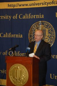 UC President Mark Yudof addresses student and state media organizations at the February 2009 Board of Regents meeting. One year later, Yudof is still facing many of the same budget and diversity issues on UC campuses. Photo by Arianna Puopolo.