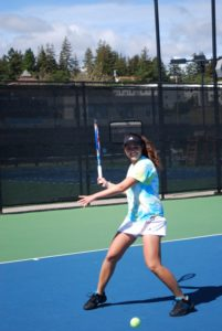 Freshman Ariana Mokhtari practices for the NCAA doubles championship this coming weekend. Photo by Devika Agarwal.