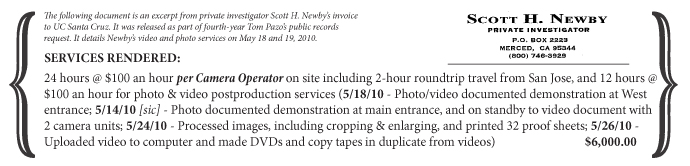The following document is an excerpt from private investigator Scott H. Newby's invoice to UC Santa Cruz. It was released as part of fourth-year Tom Pazo's public records request. It details Newby's video and photo services on May 18 and 19, 2010. | Services Rendered: 24 hours @ $100 an hour per Camera Operator on site including 2-hour roundtrip travel from San Jose, and 12 hours @ $100 an hour for photo & video postproduction services (5/18/10 - Photo/video documented demonstration at West entrance; 5/14/10 [sic] - Photo documented demonstration at main entrance, and on standby to video document with 2 camera units; 5/24/10 - Processed images, including cropping & enlarging, and printed 32 proof sheets; 5/26/10 - Uploaded video to computer and made DVDs and copy tapes in duplicate from videos) | $6,000.00