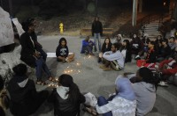 Students gather in the Quarry Plaza on the evening of Sept. 21 for a vigil in honor of executed inmate Troy Davis. Davis was convicted of murdering an off-duty police officer in 1989, and sentenced to death two years later. Photo by Morgan Grana