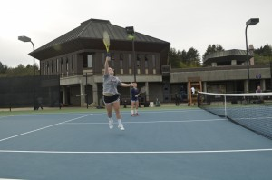 Members of the UCSC women's tennis team scrimmage against one another on Jan. 31. Photo by Toby Silverman