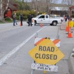 """Road Closed"" at the base of campus. Photo by Mikaela Todd."