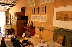 Jody Alexander's book making and paper art studio. Photo by Rosanna van Straten