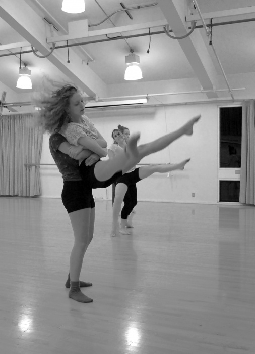"Dancers rehearse for Dance Collisions in choreographer Helen Porter's ""Skies They Blink."" Photo by Jessica Tran."