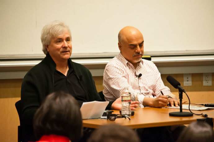 Speakers David Talbot and Hector Tobar discuss their experiences working in media and where they think it is headed. Photo by Daniel Green.