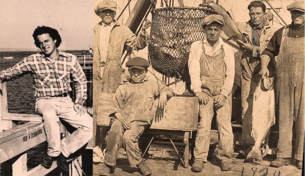Members of the Stagnaro and Loero families at the Santa Cruz Wharf in 1924 (Right). Geoffrey Dunn poses at the Santa Cruz Wharf in 1980 (Left). Photos courtesy of Geoffrey Dunn/