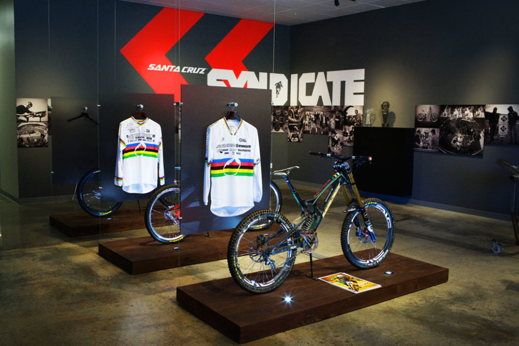 The Santa Cruz Bicycle factory displays 3 UCI World Champion bikes from its team Santa Cruz Syndicate, comprised of recent winner Greg Minnaar and past winners Steve Peat and Josh Bryceland. Photo by Alex Posis.