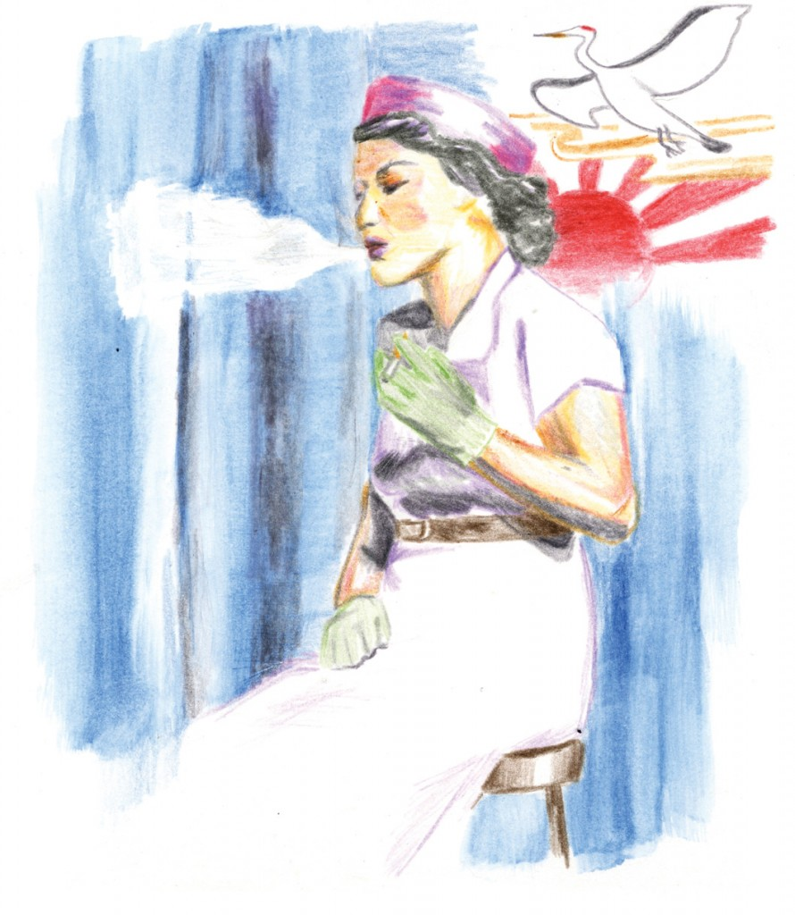 Rainbow Theater performed Velina Hasu Houston's Asa Ga Kimashita (Morning Has Broken) in 2009, a play exploring an interracial romance as experienced by a Japanese woman. Illustration by Maren Slobody.