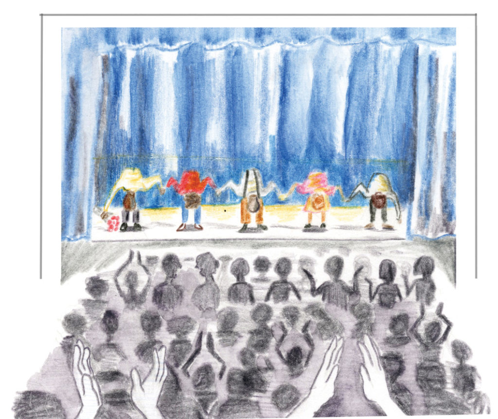 Ceremonies in Dark Old Men, AATAT's first play in 1992, garnered a standing ovation from a full house at its first showing. Illustration by Maren Slobody.