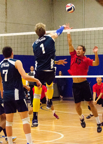 Forst spikes the ball past the defending blocker for one of his six kills of the game. Photo by Jessie Case.