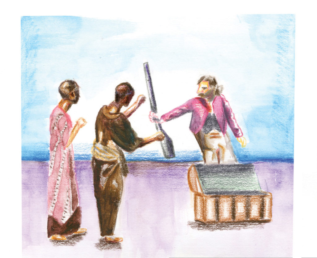 "In 2010, Rainbow Theater and AATAT produced These People Can Fly, an African American play ""describing the journey through the legacy of slavery and the journey to freedom."" Illustration by Maren Slobody."
