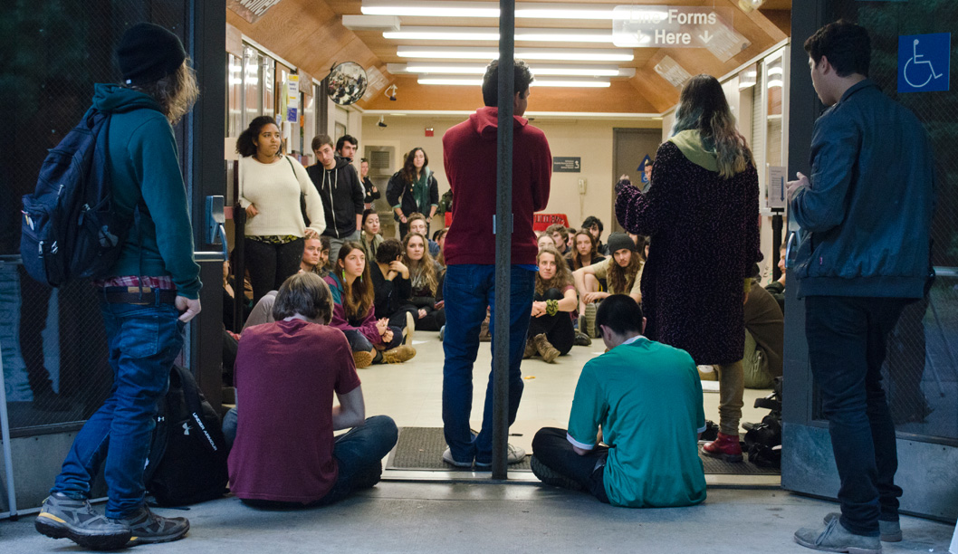 Protesters Occupy Hahn Student Services