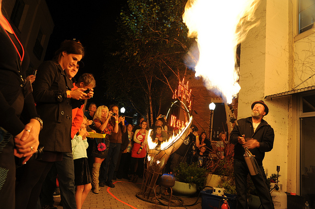 A performance from last year's fire night at the MAH's GLOW festival. Courtesy of the MAH.