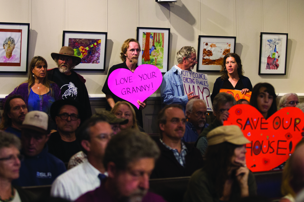 The Santa Cruz City Hall chambers were filled to capacity last Tuesday with community members protesting the new housing ordinance restricting the options for living in ADUs, or Accessory Dwelling Units. Photos by Stephen De Ropp.