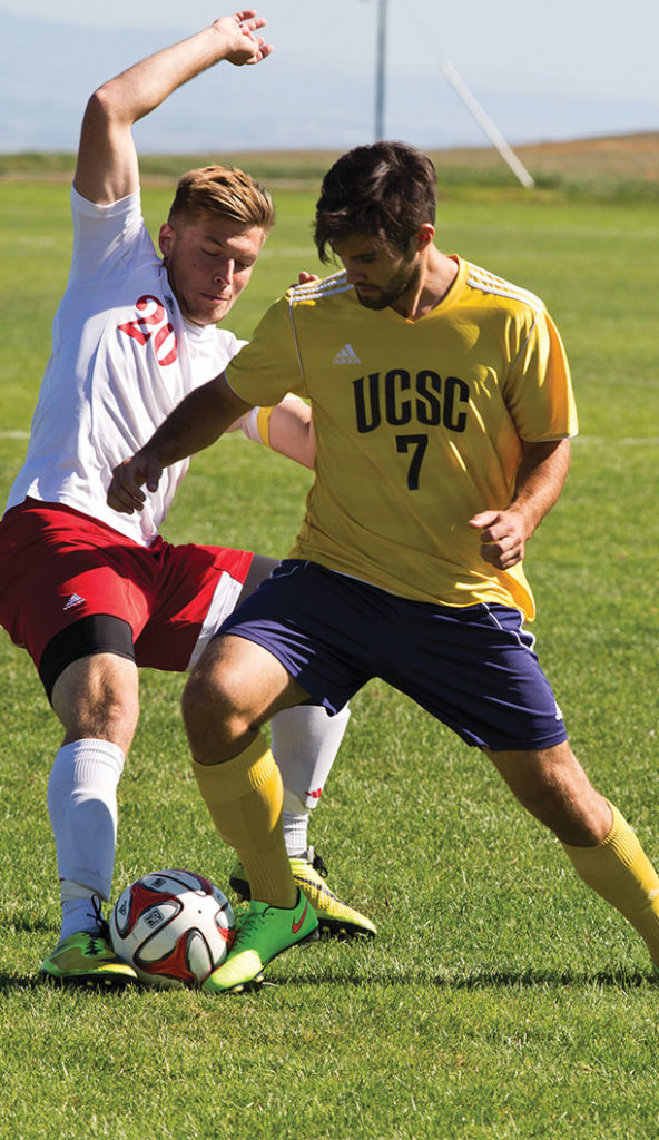 Senior Brent Godlewski (#7) fights for possession. The 13 seniors on the squad will be honored during Senior Day on Oct. 20 when the Slugs take on University of Antelope Valley at home.