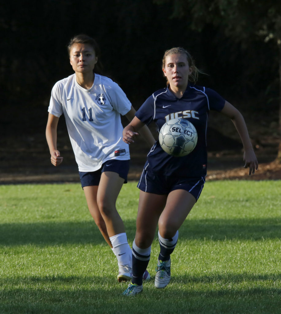 Sophomore Taylor Keenan goes for the goal in UCSC's game versus Mills College on Sept. 26. Keenan scored one goal in UCSC's 6-0 victory. Courtesy of Conrad Rowling.