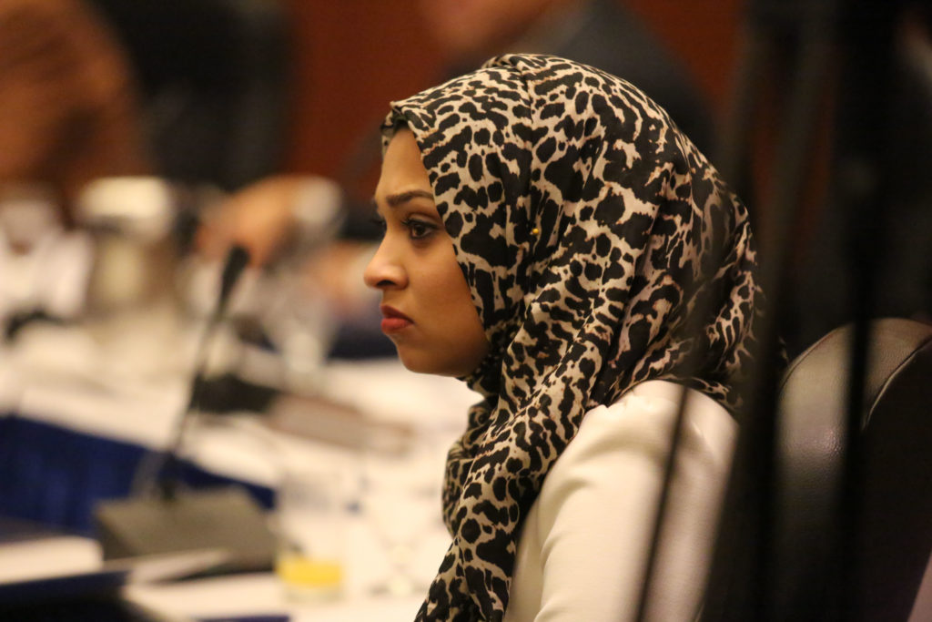 UC student Regent Sadia Saifuddin after the Committee on Long Range Planning votes to approve the tuition increase. Photo by Stephen De Ropp