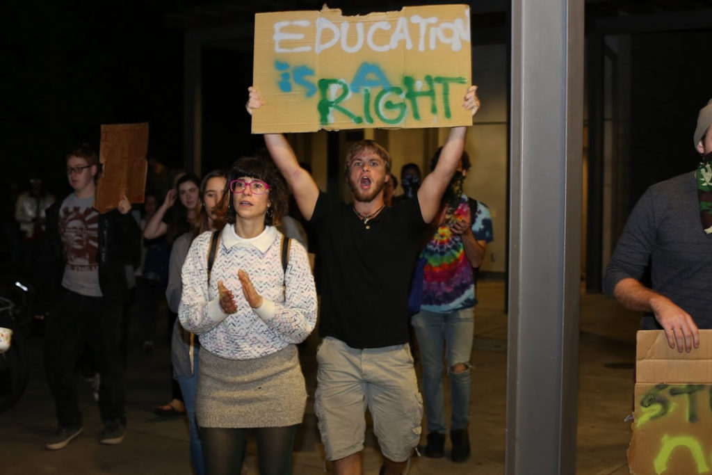 Students marched on Nov. 24 against the tuition increase plan. Photo by Stephen De Ropp
