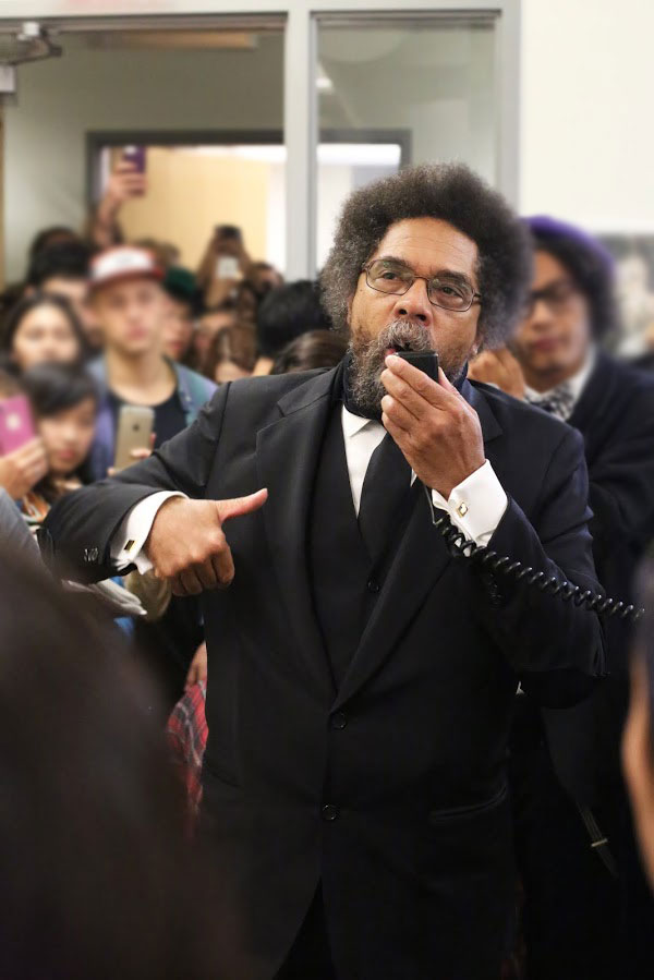 Dr. Cornel West visited Humanities 2 to address the students occupying the building. Photo by Stephen De Ropp