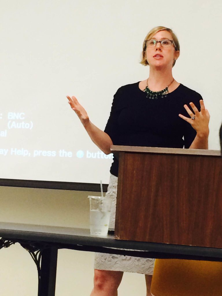 "Assistant Professor Jennifer Derr speaks during the ""Perspectives on Israel-Palestine"" class , which focuses on understanding the Israeli-Palestinian conflict. A rotation of new speakers every Tuesday gives the class an array of different perspectives. Photo courtesy of Ella Ben Hagai."