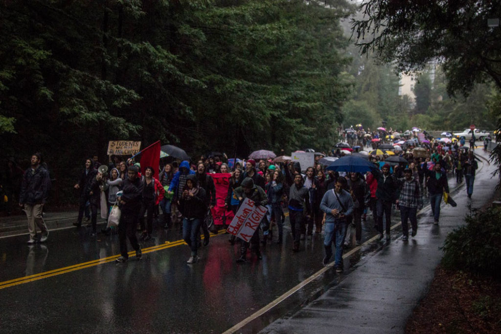 Students march on Nov. 20 to protest the tuition increase plan. Photo courtesy of Jasper Lyons.
