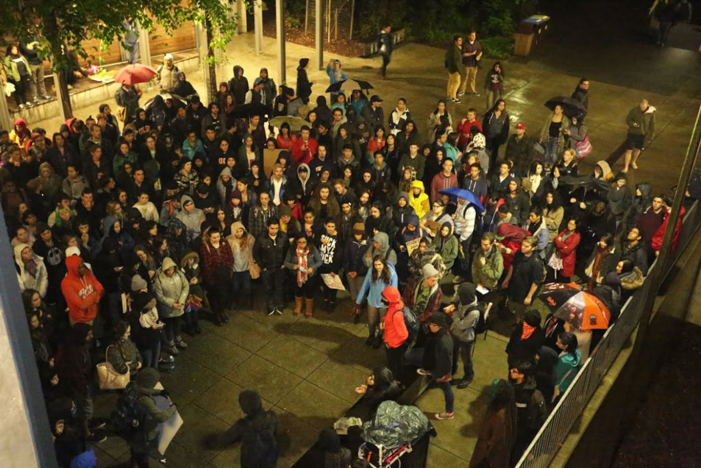 Students protest tuition hikes outside of Humanities 2. Photo by Stephen De Ropp
