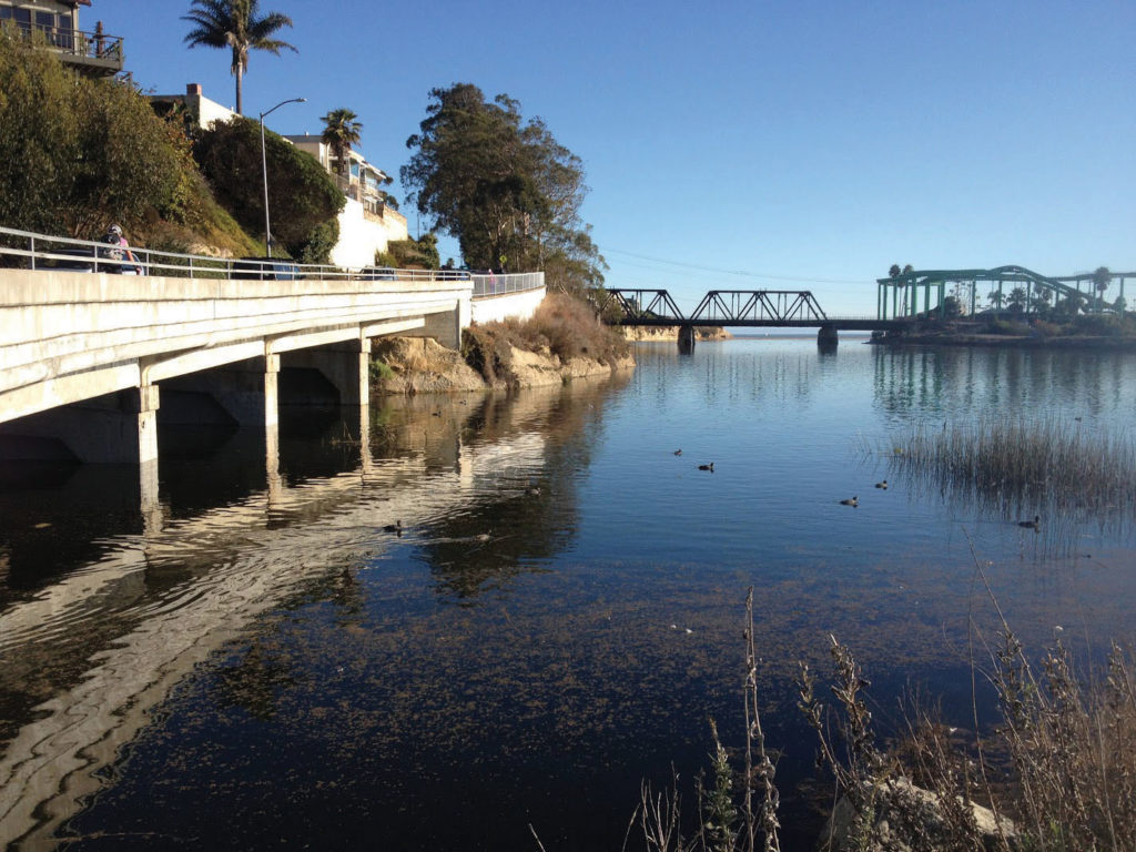 The City of Santa Cruz will research long-term solutions to prevent the flooding of the San Lorenzo Mouth Lagoon. Nearby property has been damaged by rising water levels. Photo by Aron Garst