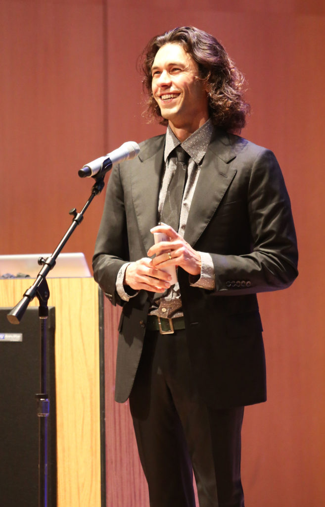 Tom Franco delivers a free lecture at the UC Santa Cruz Music Recital Hall on his artistic background and how it influenced the project. Photo by Stephen DeRopp.