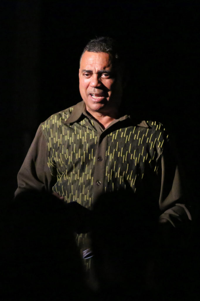 Director Don Williams, founder of the African American Theater Arts Troupe, addresses the audience prior to the start of the play. Photos by Stephen De Ropp.
