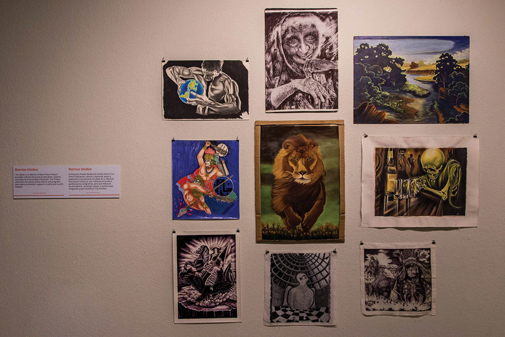The display includes art from about five different artists, some of whom have been released since the art has been on display. Photos by Jasper Lyons.