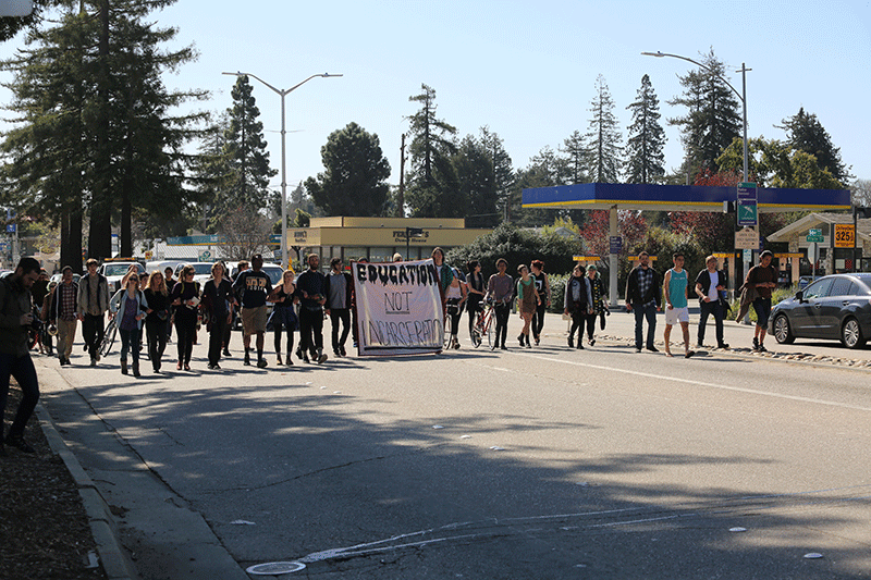 Students marched down Water Street to the Santa Cruz County Jail. Photo by Stephen De Ropp.