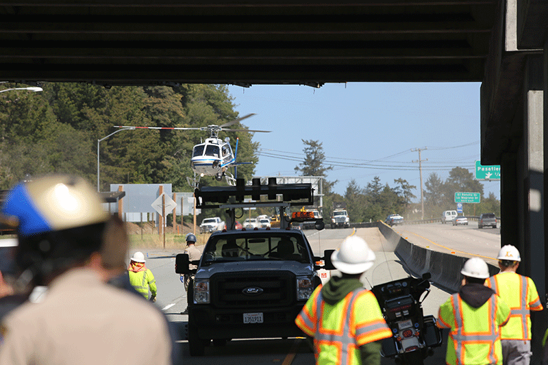 California Highway Patrol helicopters arrived in case of emergency evacuations and to bring more officers and equipment. Photo by Stephen De Ropp.