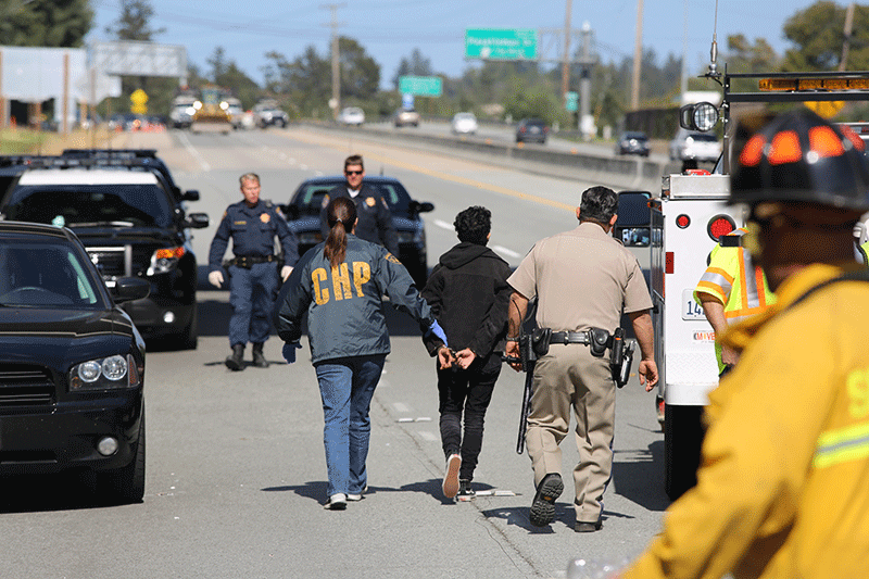 The six UCSC students arrested on Highway 17 are suspended from the university until fall 2016. Photo by Stephen De Ropp.