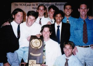 The Slugs, led by coach Bob Hansen, bring home their second NCAA tennis title in 1995. Photo courtesy of Ryan Witt.