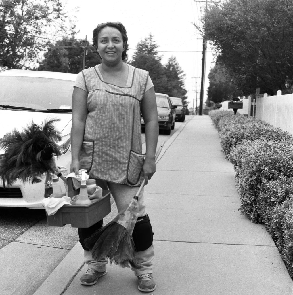 Anna has been cleaning houses for about four years, since her arrival from Mexico. She works alongside her husband everyday. As a part of a multimedia project, students took photos of low-wage workers, to be presented at the event