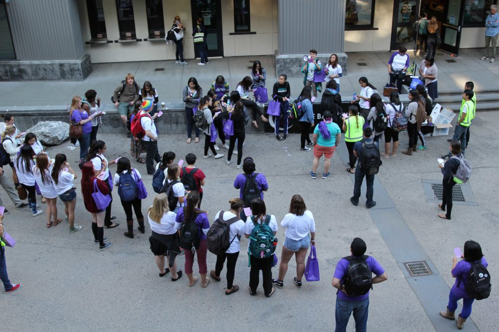 Over 50 students gathered in the quarry Wednesday evening to participate in the Take Back the Night rally and march to speak out against sexual assault. Photo by Casey Amaral