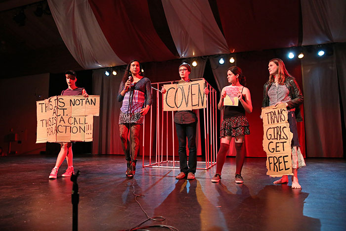 Members of Coven, a trans women support group, spoke during intermission.Photo by Stephen de Ropp.