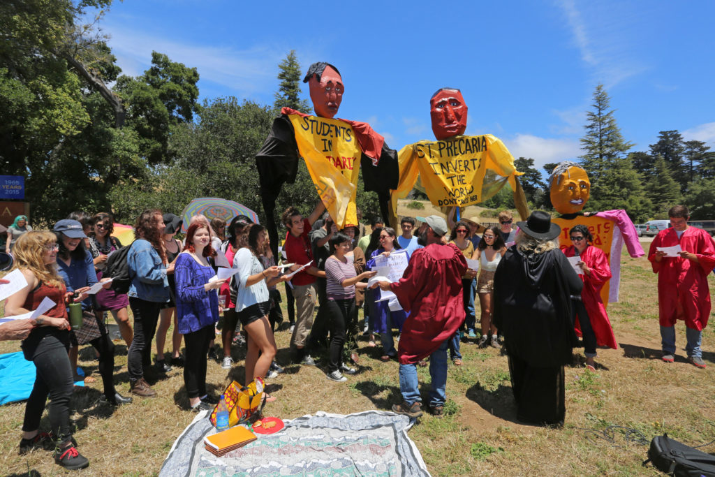 UCSC lecturers and librarians held a rally at the base of campus on June 1 as a part of their continued fight for a better contract with the university.  The rally included a picnic and highlighted the lack of job security experienced by lecturers. Photo by Stephen De Ropp.