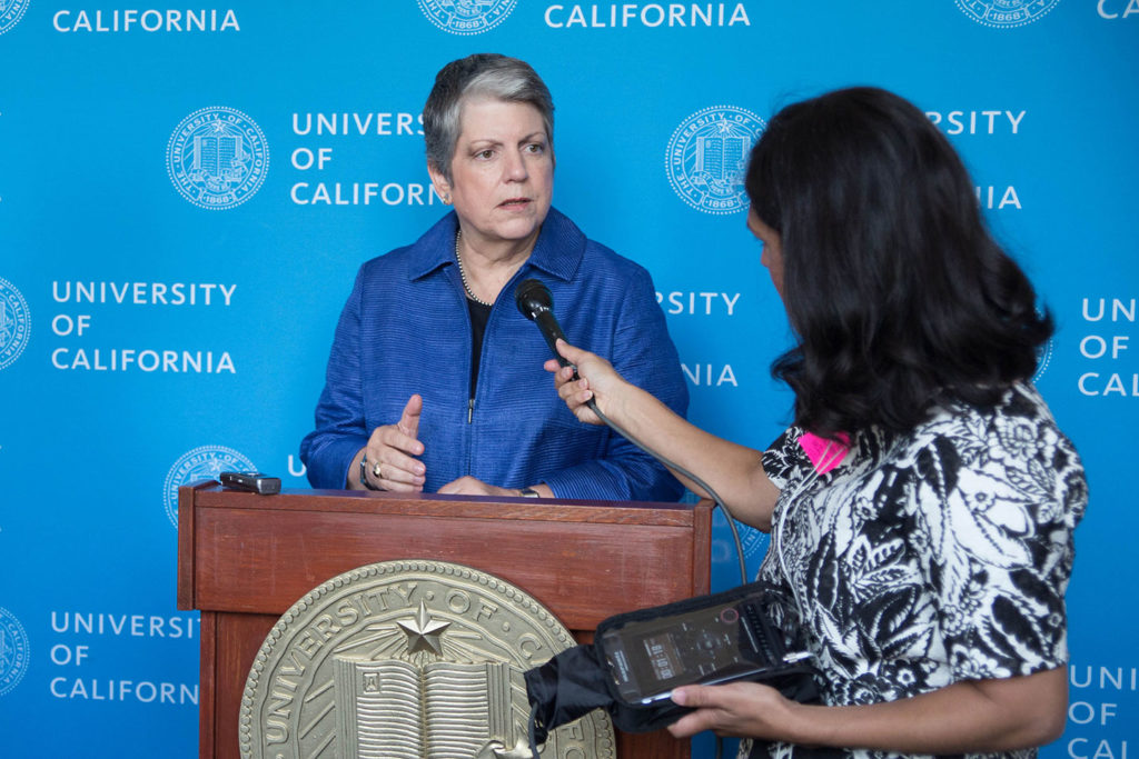 UC President Janet Napolitano briefly speaks with media about the UC Fair Wage/Fair Work Plan on Wednesday. Photo by Calyse Tobias.