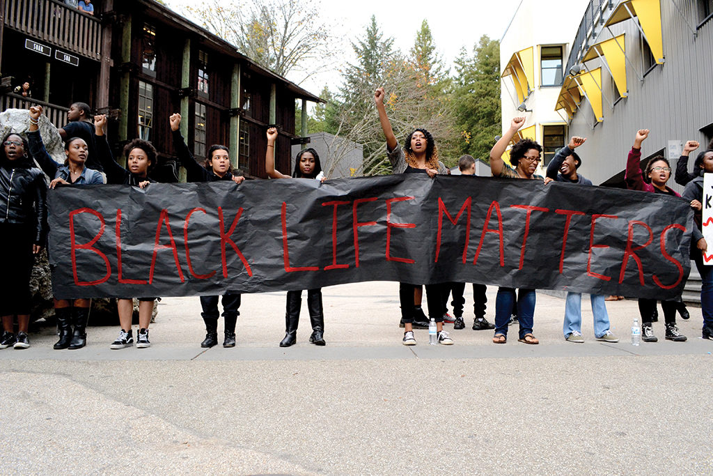 Last December, over 100 students blocked pedestrian traffic through Quarry Plaza to protest incidents of police brutality and systematic oppression against black communities, and to empower UCSC's own black community. Photo by Camille Carrillo.