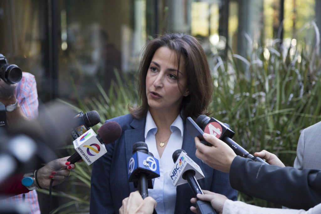 Gonzalez's attorney and public defender Leila Sayer discusses her client's charges. Photo by Jasper Lyons.
