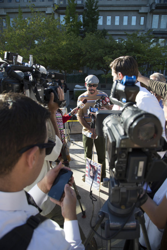 Maddy's father addresses media after Gonzalez's arraignment. Photo by Jasper Lyons.