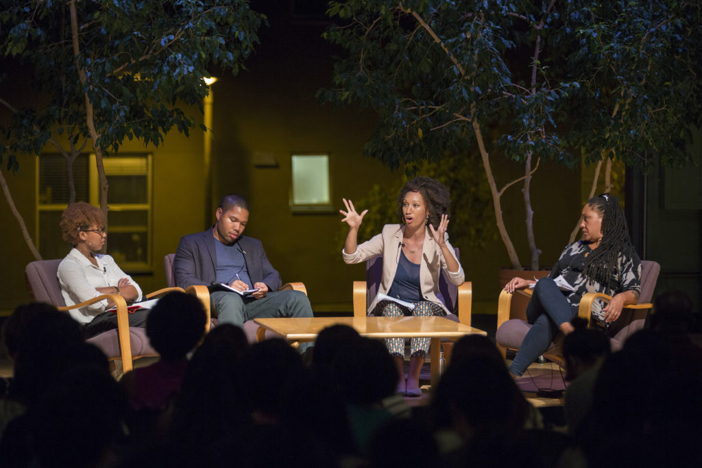 Black Lives Matter representatives Wanjiku Wanyee Muhire, Jocqui Smollet, Jasmine Hill and Cat Brooks held a discussion about race in the United States last Tuesday night for College Nine's freshmen core class. Photo by Casey Amaral.