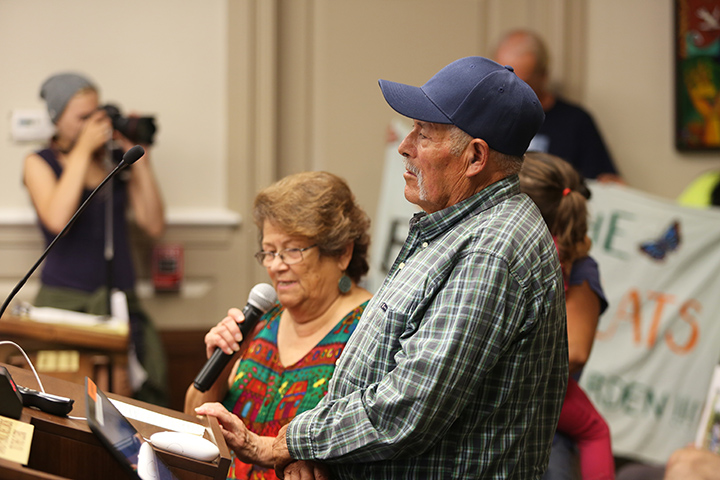 Don Emilio Martinez Castañeda, a gardener at the Beach Flats Community Garden, addresses Santa Cruz City Council members during the public comment section on Oct. 13. The future of the Beach Flats Community Garden will be City Council's meeting agenda for Oct. 27. Photo by Stephen de Ropp.