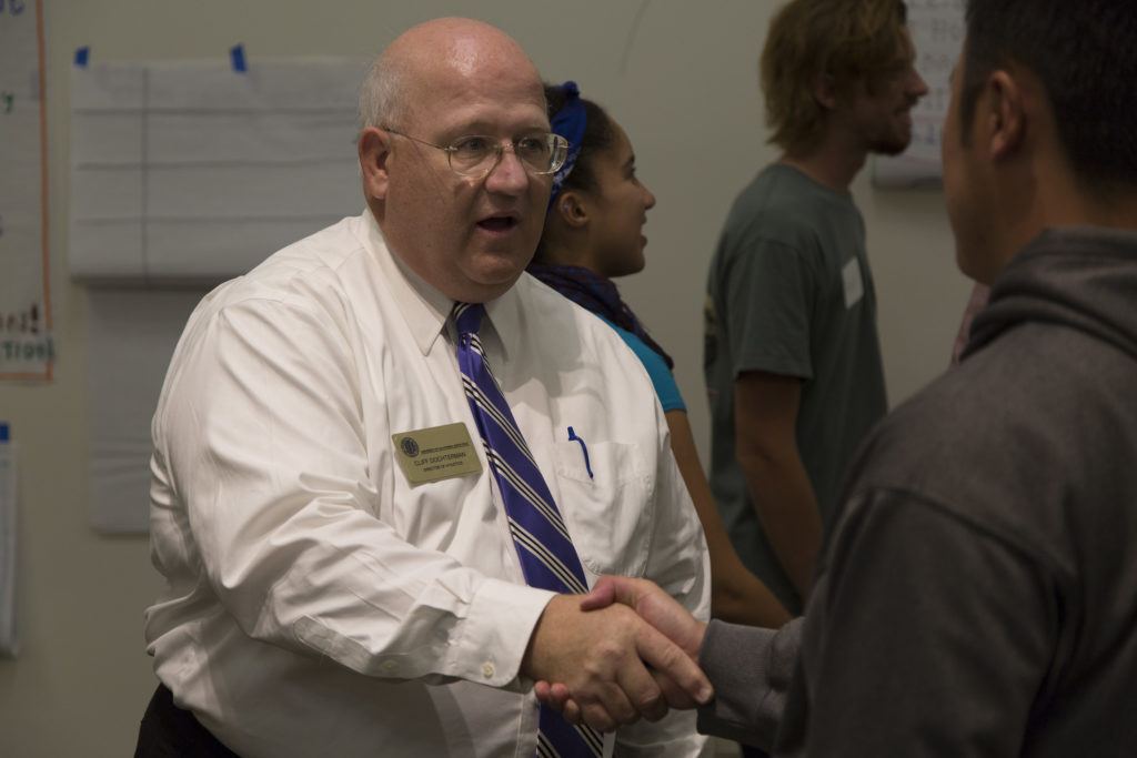 Cliff Dochterman meets students participating in the student voice sessions.
