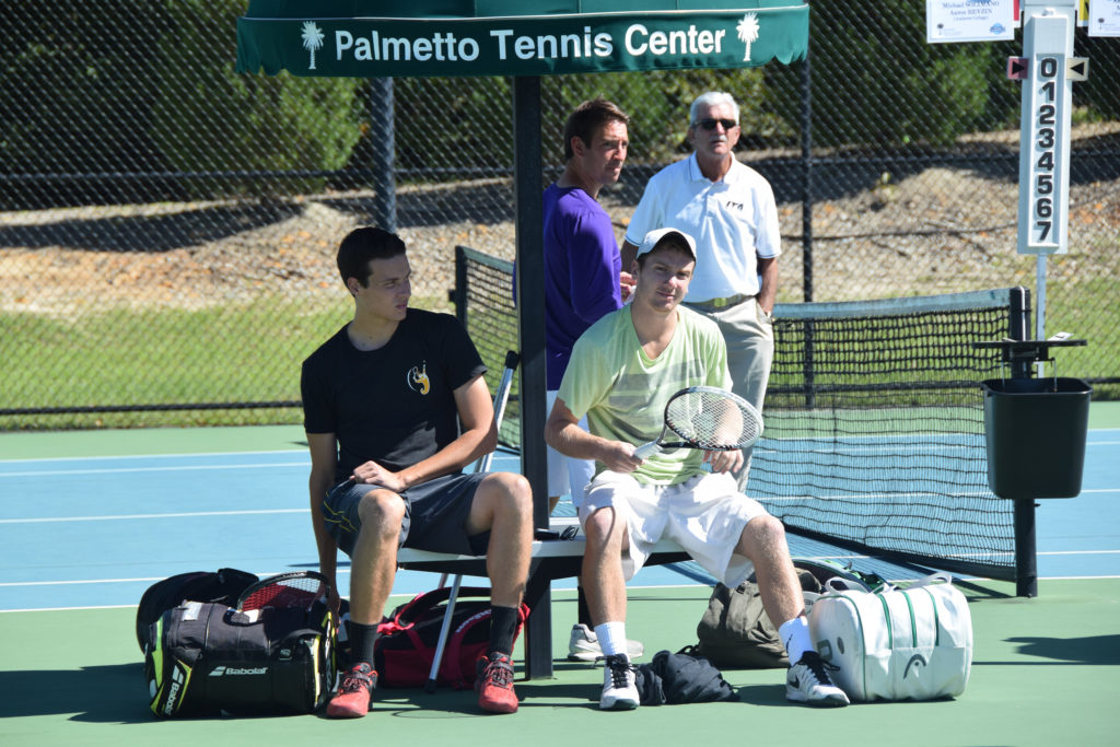 Sophomore Adrian Sirovica, left, and senior Kyle Richter, right, played three games in two days at the Palmetto Tennis Center in Sumter, South Carolina (above).