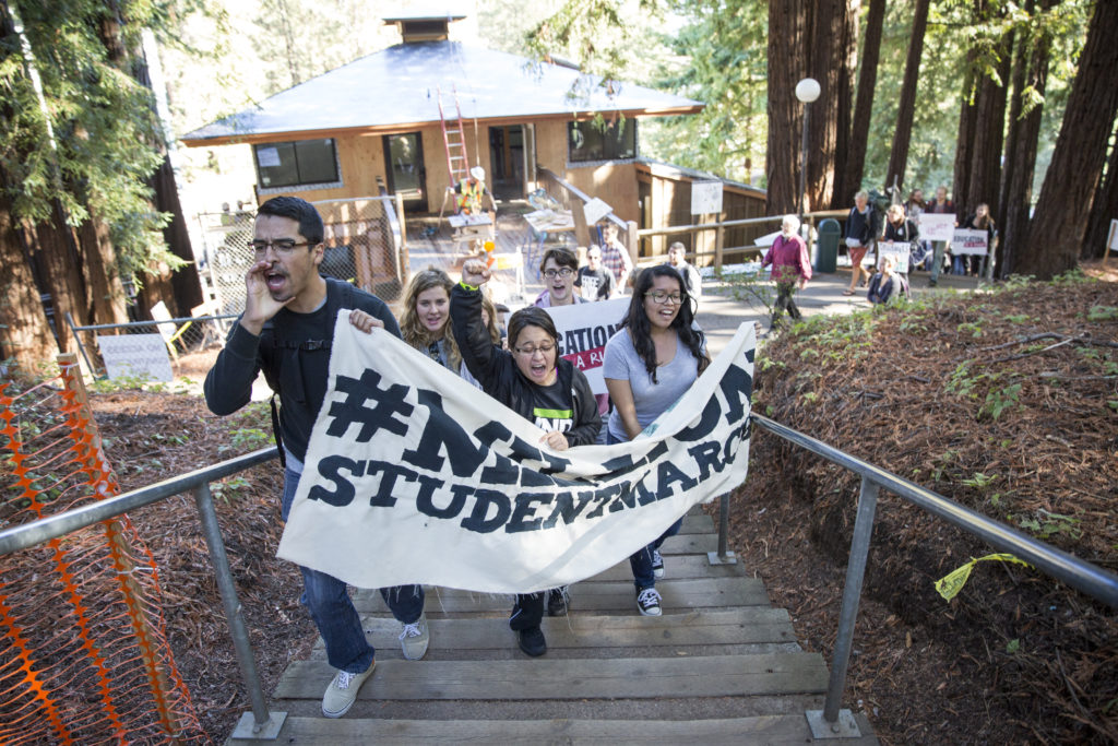 Around 50 students protested student debt forgiveness, free tuition and a $15 an hour minimum wage in  solidarity with  the Million Student March. Photo by Stephen de Ropp